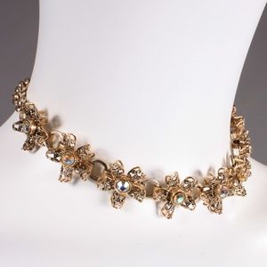 Vintage Filigree Rhinestone Choker Necklace